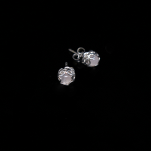 Knitting Earrings - 6mm Round Stone - Silver