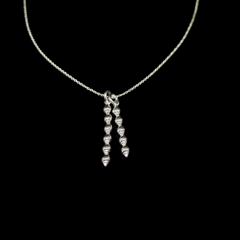 Conches Necklace - 2 Columns of Shells - Silver