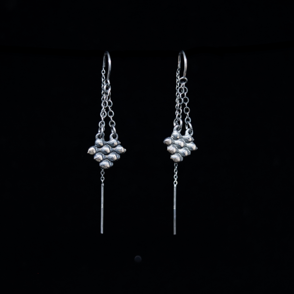 Conches Earrings - Double Chain Formation - Silver