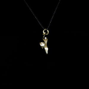 Bubble Seaweed Necklace - Bubbles Hanging - 0.02ct Diamonds - Gold