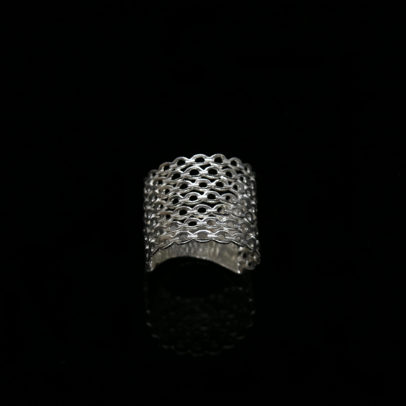 Knitting Ring - Small Stitch - Wide Band - Silver