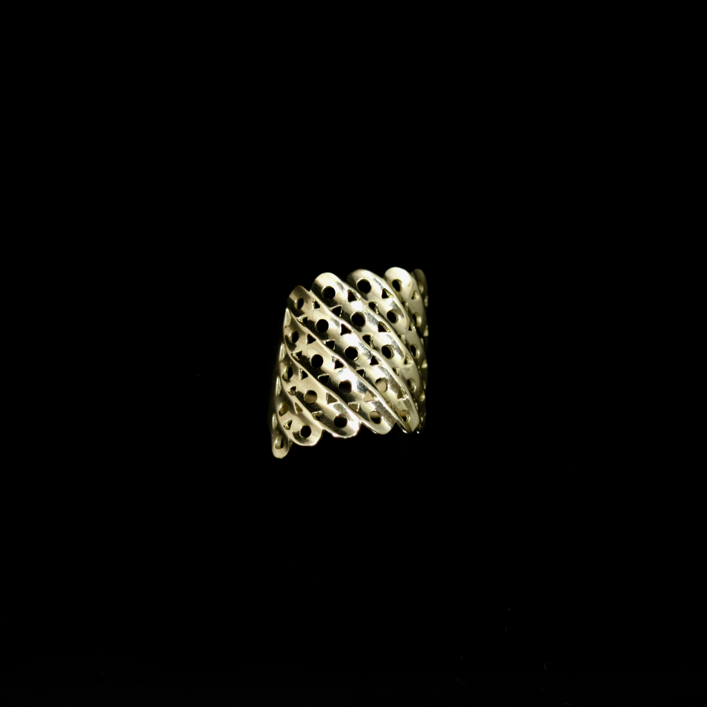 Knitting Ring - Slant Large Stitch - Gold