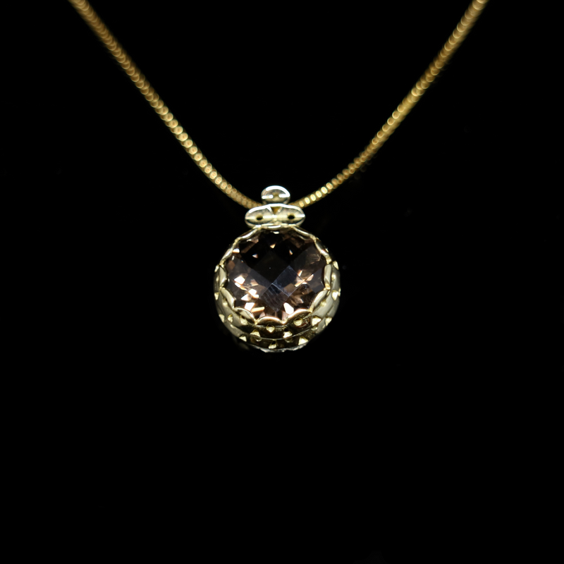 Knitting Necklace - 12mm Round Natural Stone - Gold