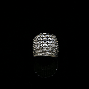 Knitting Ring - Convex Medium Stitch - Wide Band - Silver