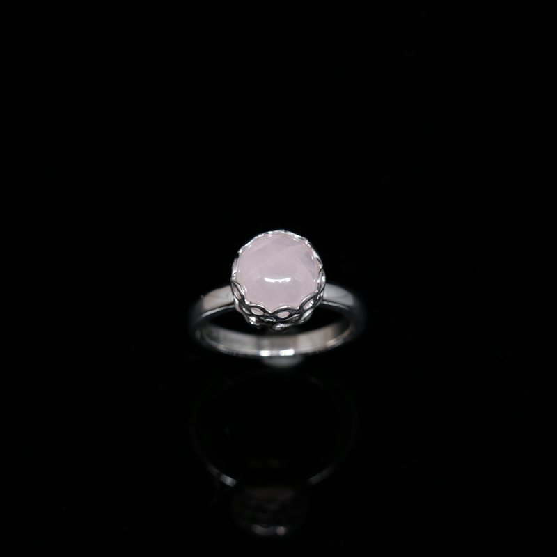 Knitting Ring - 10mm Round Stone - Silver