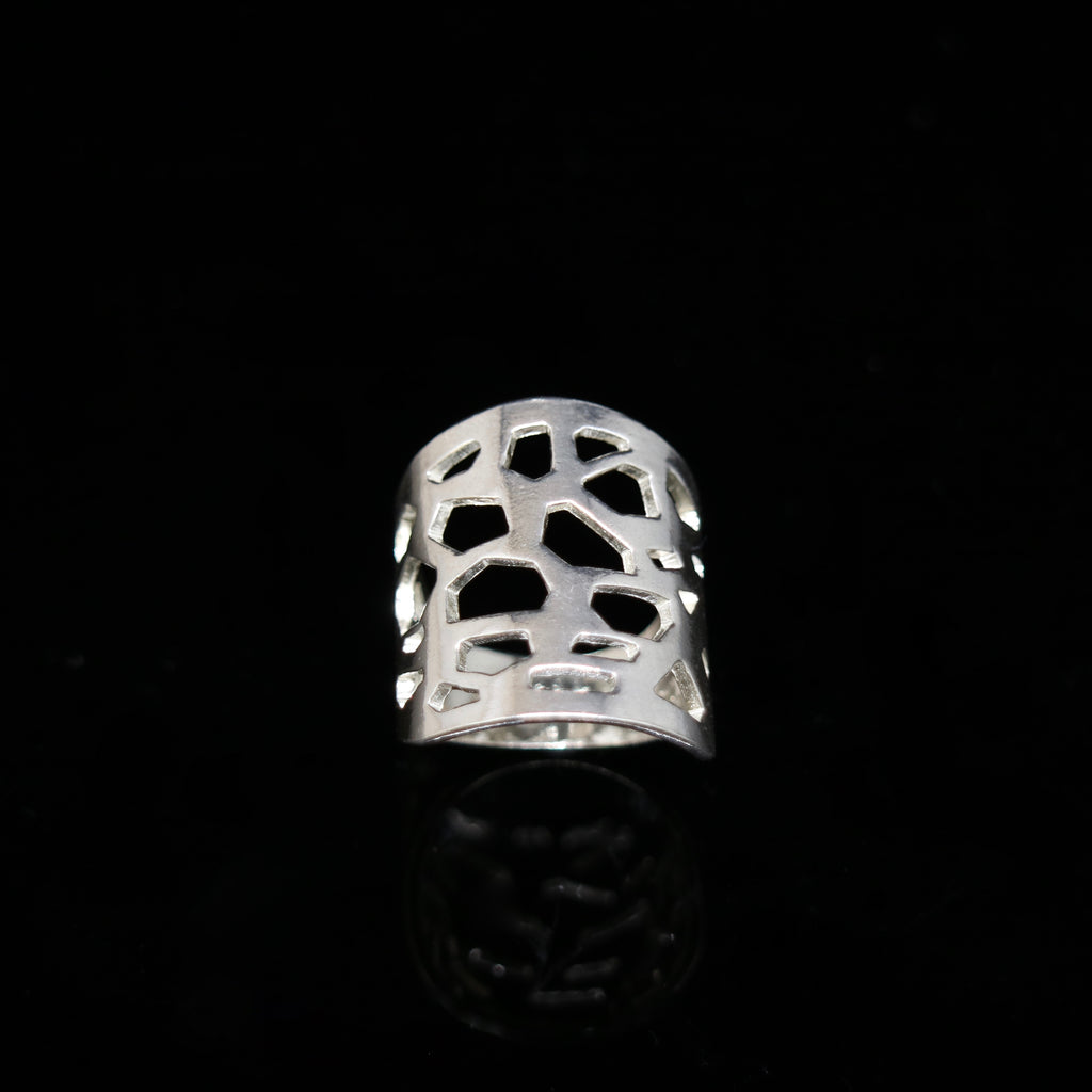 Molecule Ring - Wide Band - Silver