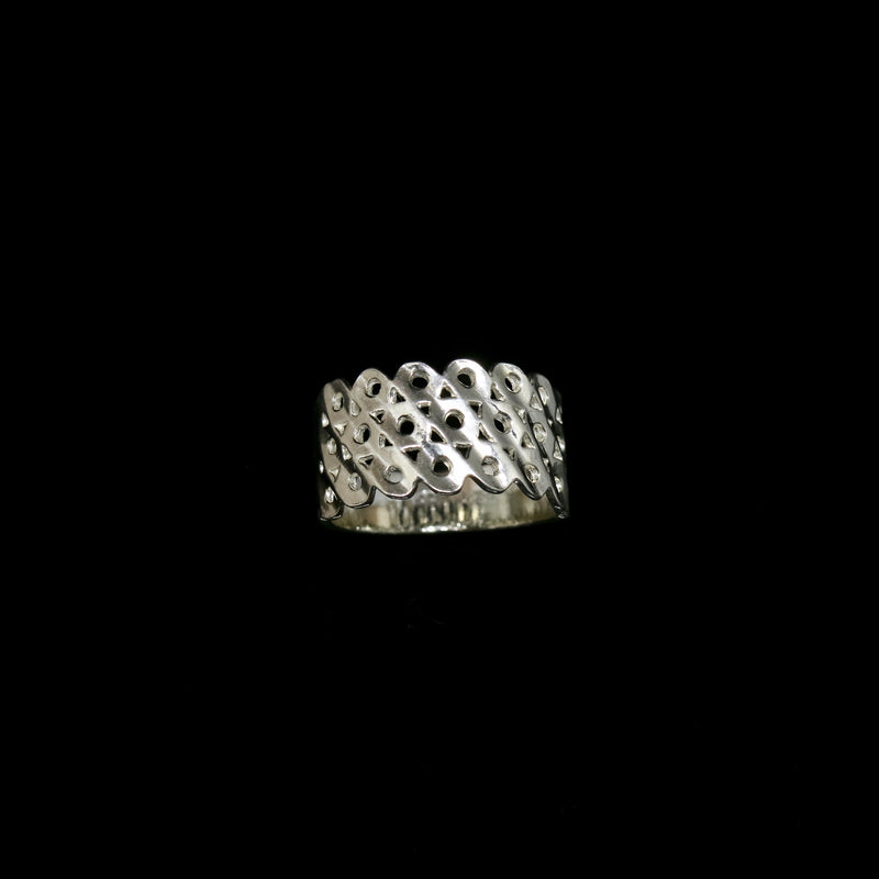 Knitting Ring - Large Stitch - 3 Rows - Silver
