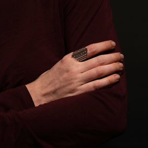 Knitting Ring - Diamond Large Stitch - Silver