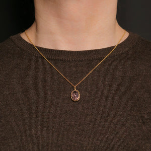 Knitting Necklace - 14x10mm Oval Natural Stone - Gold