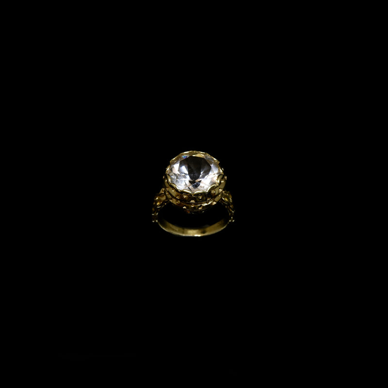 Knitting Ring - 12mm Round Natural Stone - Gold