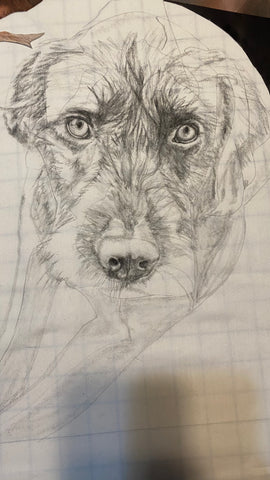 Fabric drawing of Gizmo the dog