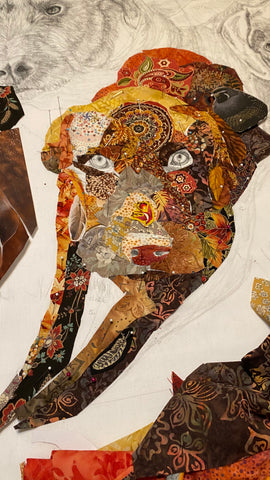 Gizmo the dog in fabric collage