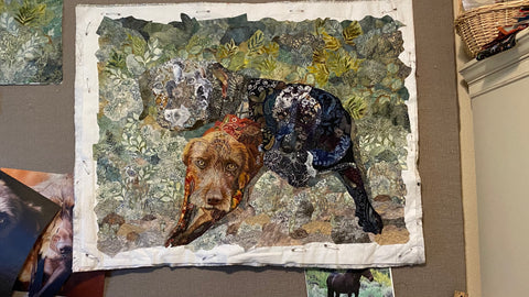 Quilted collage of Gizmo the dog with Thor and Lucky.