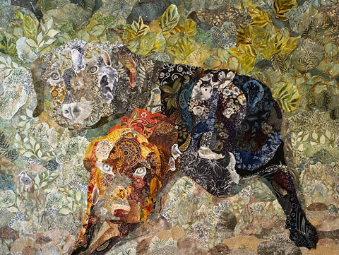 The dogs in complete fabric collage