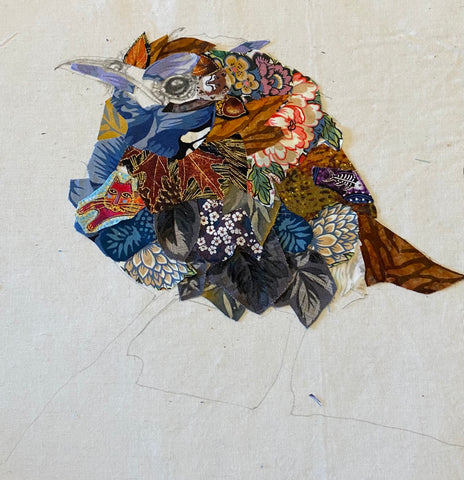 Fabric collage frazzled bird