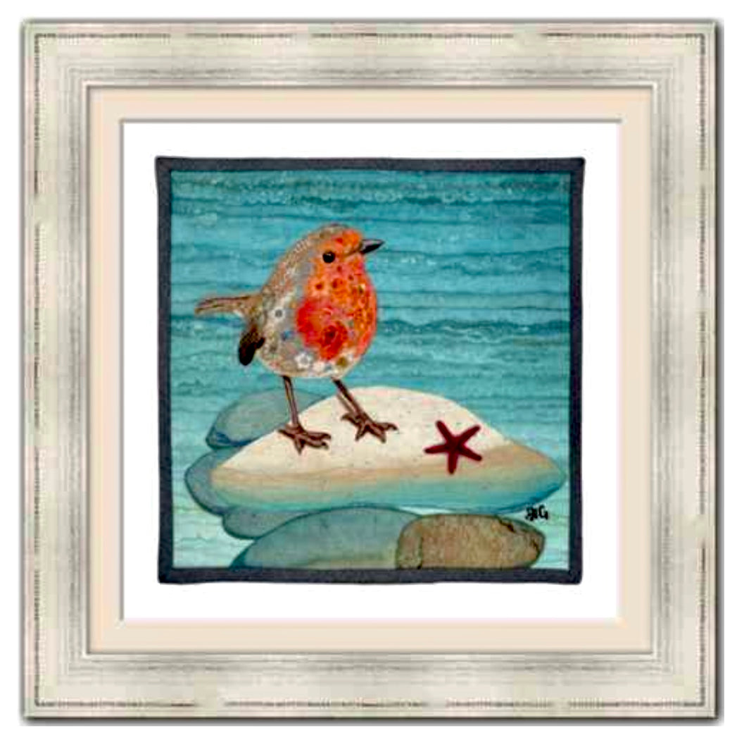 """Beachy Robin"" 14""x 14"" Framed and Matted Print"