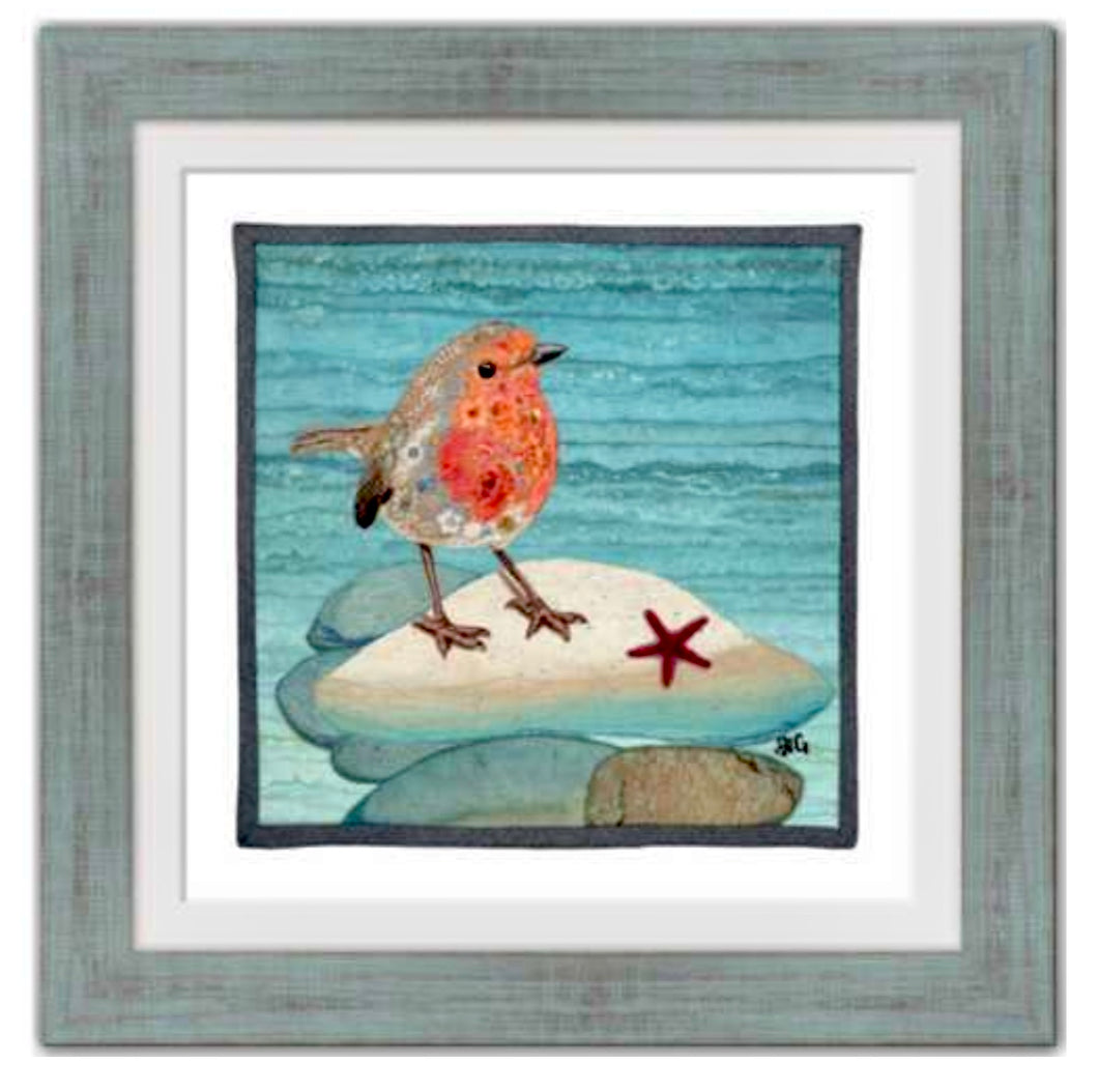 """Beachy Robin"" 14"" x 14"" Framed and Matted Print"