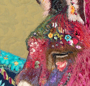 """ The Bashful Bella"" Textile Art 30"" x 24"""