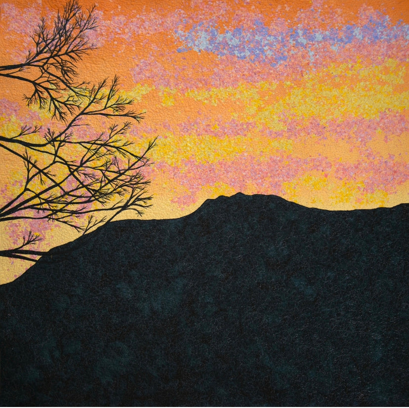 """Mount Rose Sunset"" Textile Quilt Print 14""x14"""