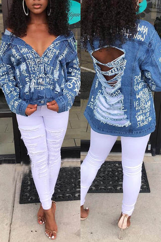 Ripped Light Blue Denim Jacket