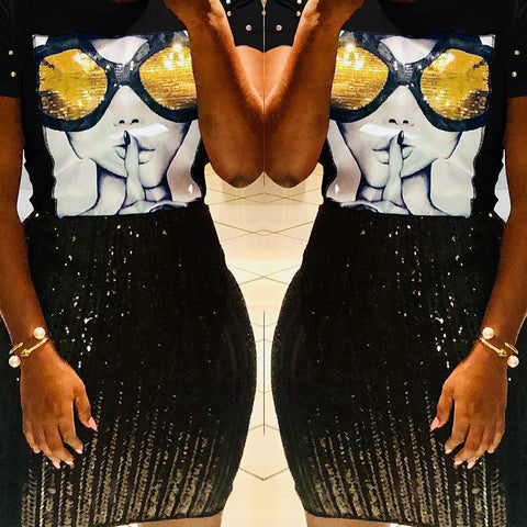 Chic Sequined Black T-shirt