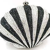 Black & Silver Striped Crystal Clamshell Clutch
