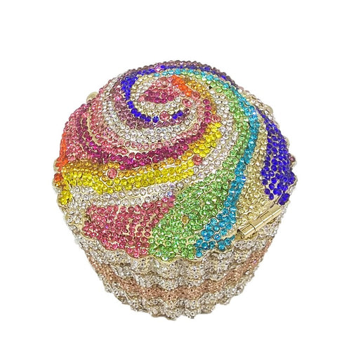 Colorful Crystal Cupcake Clutch Purse