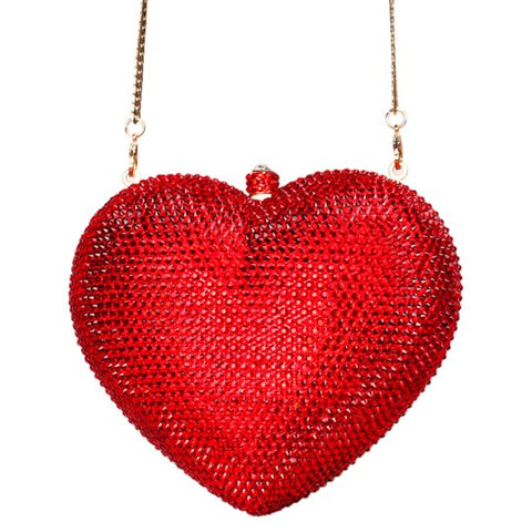 Red Heart Crystal Clutch Purse