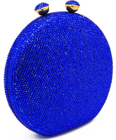 Blue Circle Crystal Embellished Clutch
