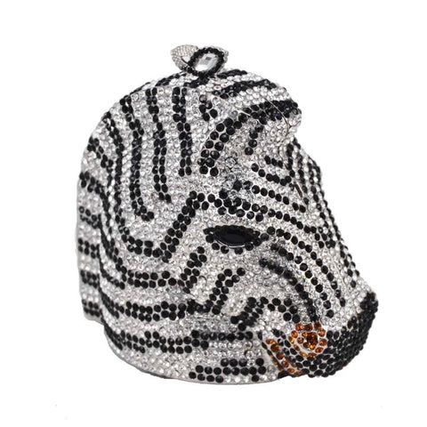 Crystal Zebra Head Clutch Purse