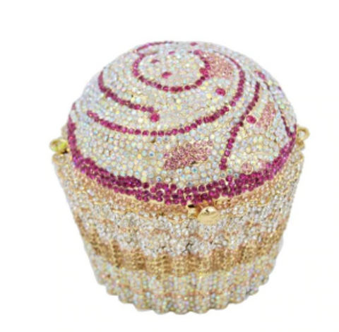 Purple Crystal Cupcake Clutch Purse