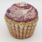 Silver Crystal Cupcake Clutch Purse
