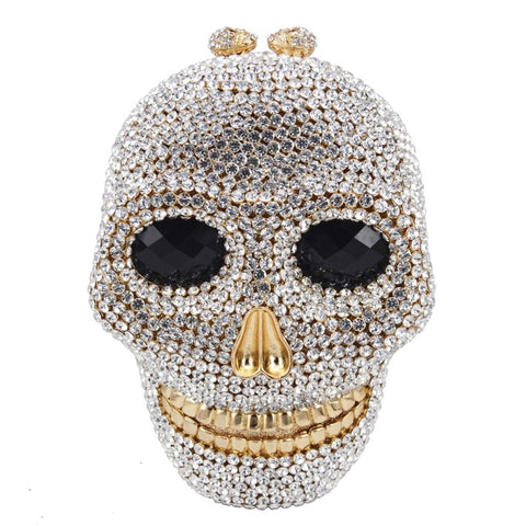 Skull Shaped Crystal Clutch Purse