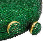 Green Circle Crystal Embellished Clutch