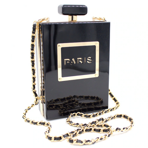 Trendy Black Paris Clutch