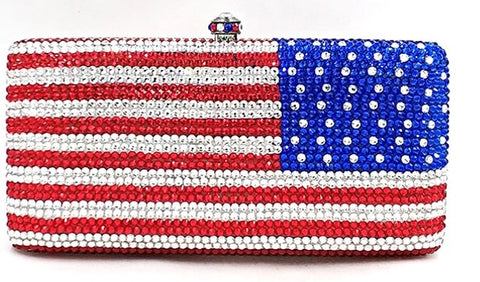 United States Flag Patriotic Crystal Clutch
