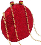 Red Circle Crystal Embellished Clutch
