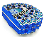 Playful Peacock Crystal Clutch Purse