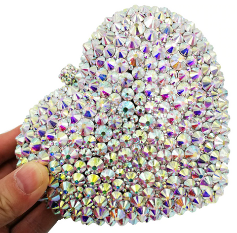 Crystal Heart Clutch Purse