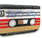 Party Mix Cassette Tape Crystal Clutch Purse