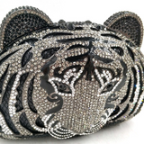 Timid Tiger Crystal Clutch Purse