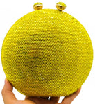 Yellow Circle Crystal Embellished Clutch