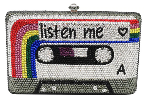 Listen To Me Cassette Tape Crystal Clutch Purse