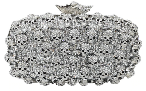 Scary Skulls Gothic Crystal Clutch
