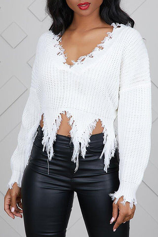 Tassel Design White Blending Sweater