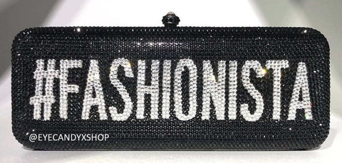 Black Fashionista Crystal Clutch