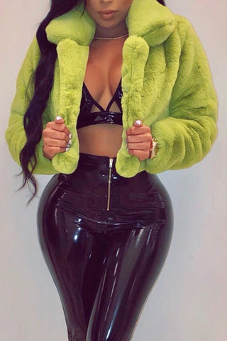 Neon Green Faux Fur Coat