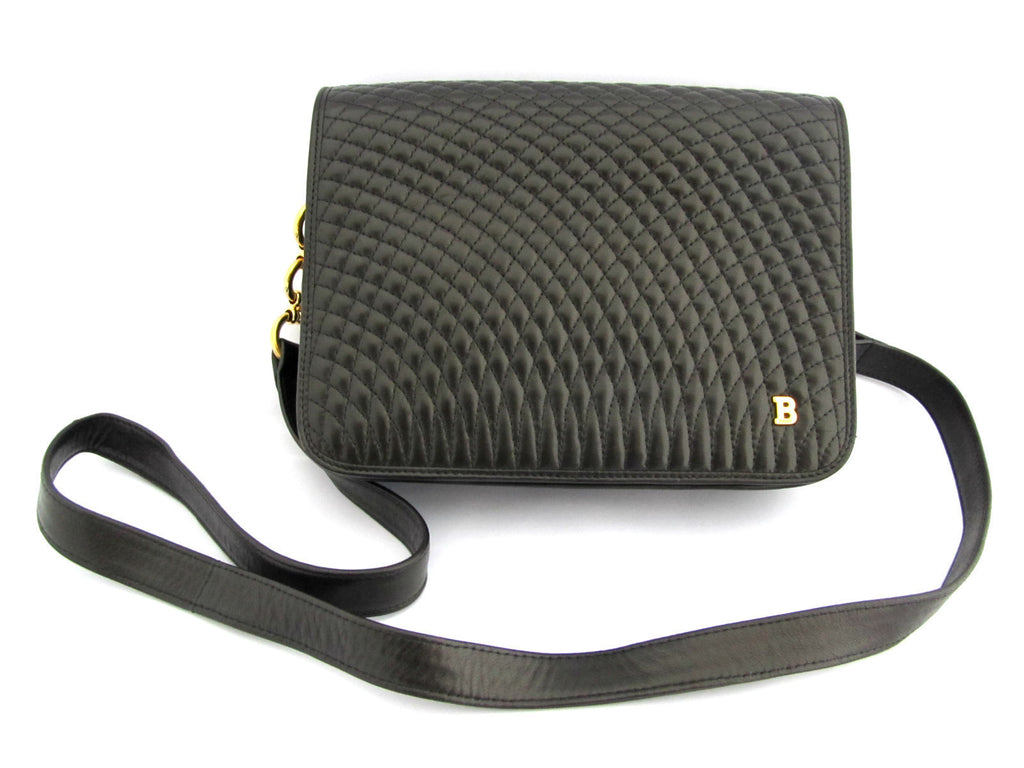 BALLY<br>Vintage quilted black leather shoulder bag
