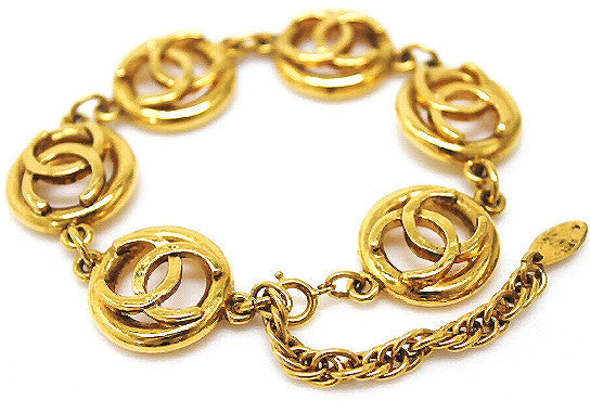 CHANEL<br>Vintage CC Cuff Coin Logo Bangle Bracelet