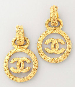 CHANEL<br>vintage byzantine clear glass plate earrings